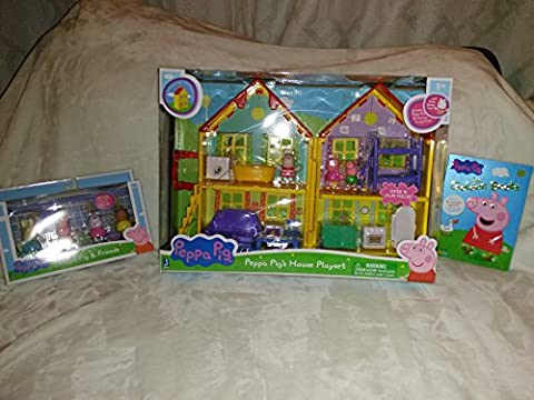 Peppa Pig 3 Piece Set: Peppa Pig's House Playset, The Golden Boots (9 episodes), And Peppa Pig & Friends Four (Peppa Pig George Boots)