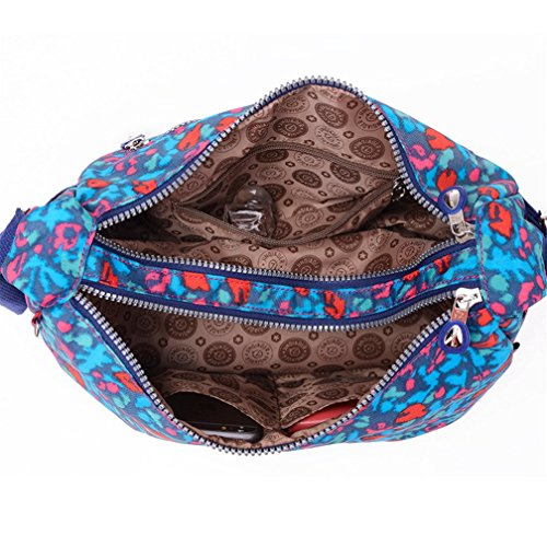 tianhengyi Mujer Estilo Sencillo Dumpling Forma Bolsa De Hombro Bandolera de Nailon Ligero Messenger Bag Leopard