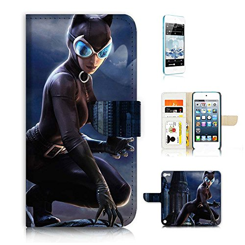 ( For ipod 5, itouch 5, touch 5 ) Flip Wallet Case Cover & Screen Protector Bundle! A20397 Cat Woman Super Hero