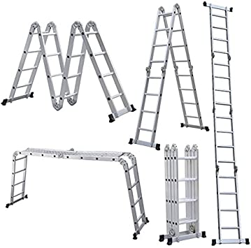 homgrace 3,3 m/4,4 m escalera aluminio telescópica plegable, escalera extensible multifunción, carga máxima de 150 kg, 4 x 4 peldaños: Amazon.es: Bricolaje y herramientas