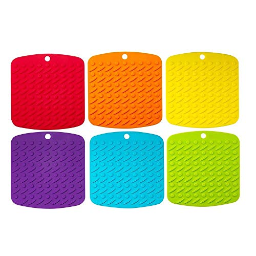 Premium Silicone Pot Holder,Trivets,Hot Mitts,Spoon Rest And Garlic Peeler Non Slip,Heat Resistant Hot Pads,Multipurpose Kitchen Tool. 7x7
