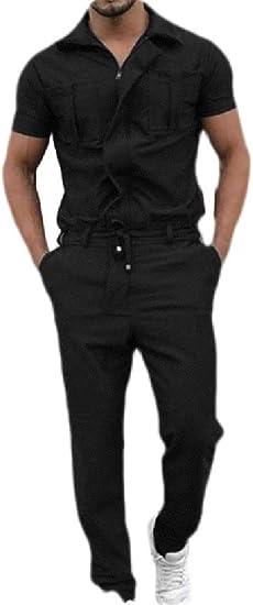 Joe Wenko Mens Casual Long Sleeve Playsuit Sport Hooded Zip-Front Pants
