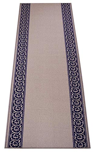 RugStylesOnline Custom Size Runner Scroll Border Abstract Design Roll Runner 26 Inch Wide x Your Length Size Choice Slip Skid Resistant Rubber Back (Grey Navy Blue, 12 ft x 26 -