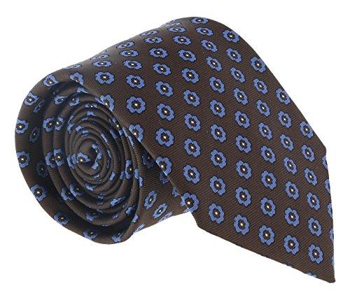 Ermenegildo Zegna Brown-Blue Floral Medallion Tie for mens
