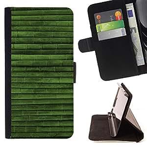 BullDog Case - FOR/Apple Iphone 4 / 4S / - / Green Nature Bamboo Pattern /- Monedero de cuero de la PU Llevar cubierta de la caja con el ID Credit Card Slots Flip funda de cuer