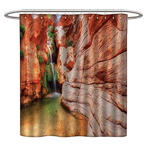 (Qenuanmpo Polyester Fabric Shower Curtain Americana,Elves Chasm Colorado River Plateau Creek Grand Canyon Image Print,Scarlet Green Light Brown,Hand Drawing Effect Fabric Shower Curtains 70