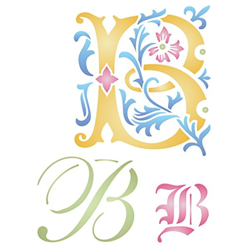 "Initial B Stencil (size 6.5""w x 8.8""h) Reusable Stencils for Painting - Best Quality Letter Wall Art Décor Ideas - Use on Walls, Floors, Fabrics, Glass, Wood, Cards, and More…"
