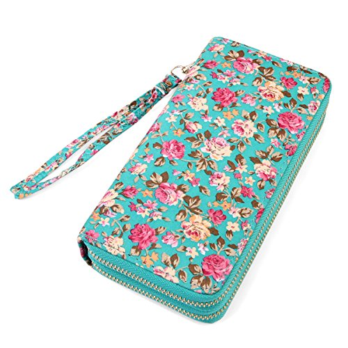 Flower Print Zipper - Lovely Floral Print Zip Around Wallet - Cute Flower Pattern Double Zipper Clutch Long Purse Card & Phone Wristlet Strap (French Roses - Mint)