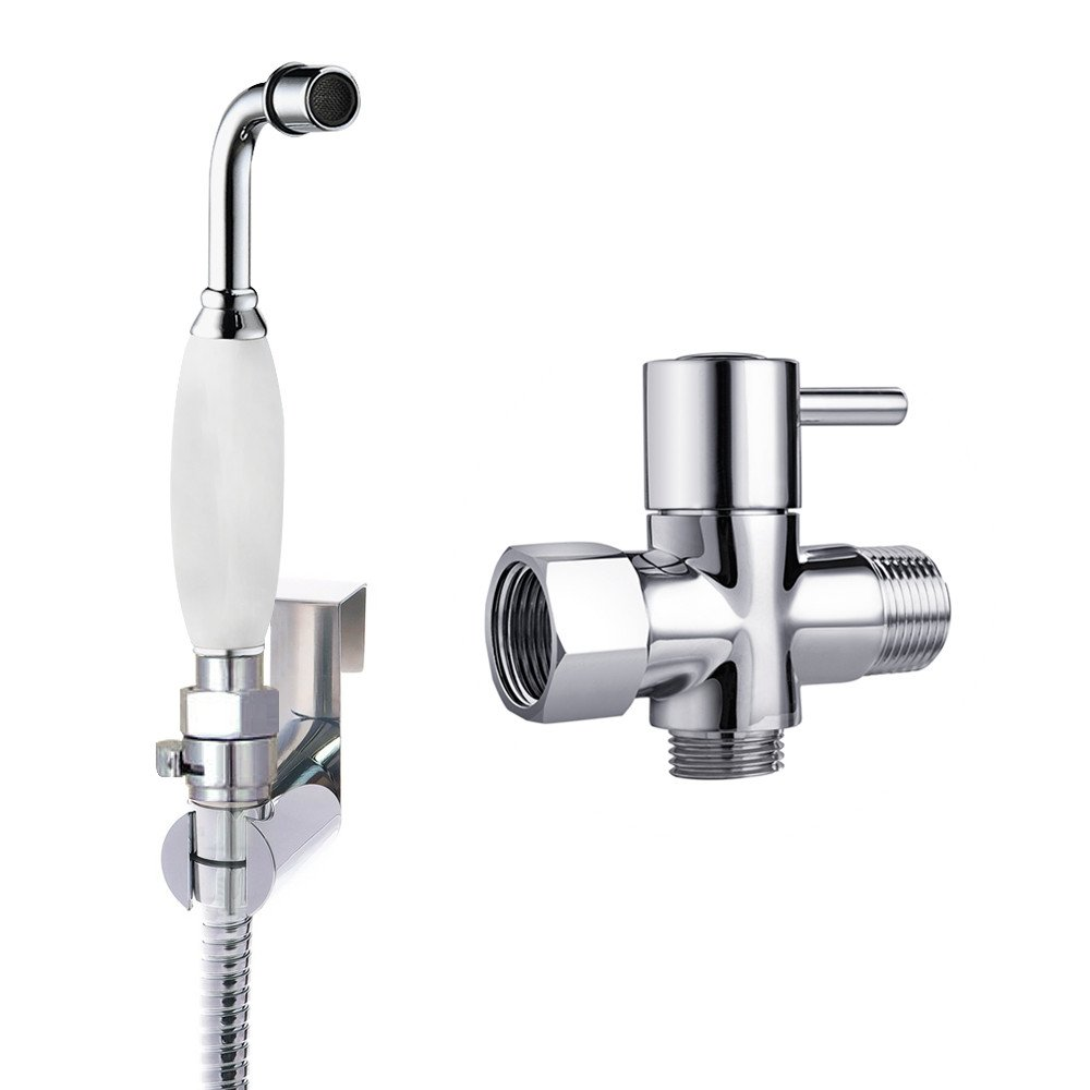 Toilet Shower Bidet Spray Attachment-Hand Held Bidet Sprayer Shower Set for Bathroom-Handheld Shattaf Muslim Shower Kit with Regulator and T Adapter(Ceramic, Chrome)