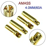 4mm bullet connector - Amass 20Pair TB35 Amass 4.0mm Thick Gold Bullet Banana Connector Plug Gold Plated for ESC Battery