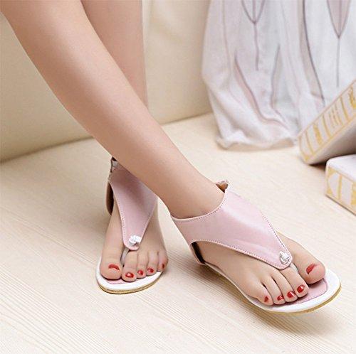 Chfso Womens Casual Zachte Binnenzool Flip Flops Rits Sandalen Platte Hak Antislip Roze