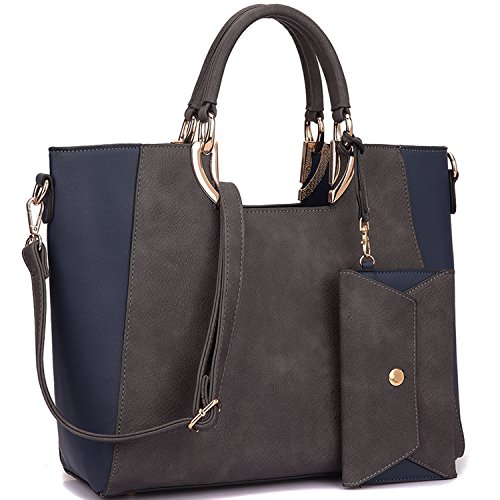 Dasein Women Fashion Large Handbag Tote Satchel Purse Designer Shoulder Bag w/Matching Wallet (2 Tone-Grey/Navy) by Dasein
