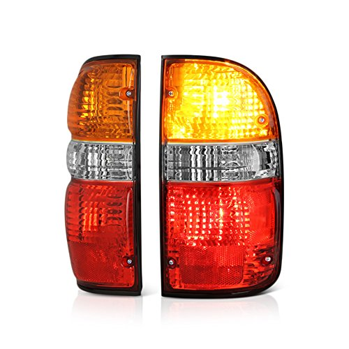 VIPMOTOZ For 2001-2004 Toyota Tacoma Pickup Truck Amber Red Lens OE-Style Tail Light Housing Lamp Assembly Replacement Driver and Passenger Side