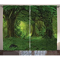 Ambesonne Nature Decor Curtains, Deep Tropical Jungle Trees Foliage Woodland Asian Himalayas Meditation Landscape, Living Room Bedroom Window Drapes 2 Panel Set, 108 W X 90 L inches, Green