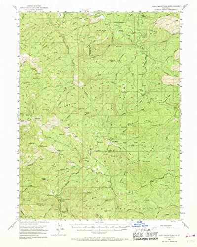 YellowMaps Hull Mountain CA topo map, 1:62500 Scale, 15 X 15 Minute, Historical, 1952, Updated 1968, 20.9 x 16.6 in - Tyvek