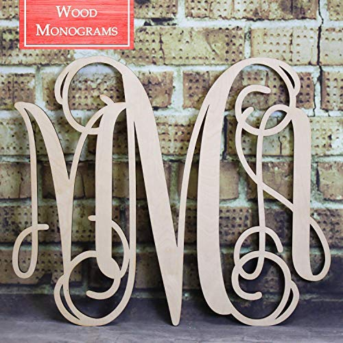 Back40Life | Unfinished Vine Monogram Wood Letters Cutout DIY Decor Nursery