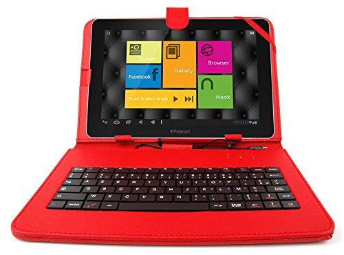 DURAGADGET Durable Red Faux Leather Protective Case / Cover With Micro USB FRENCH Keyboard & Built In Stand For Polaroid 10.1