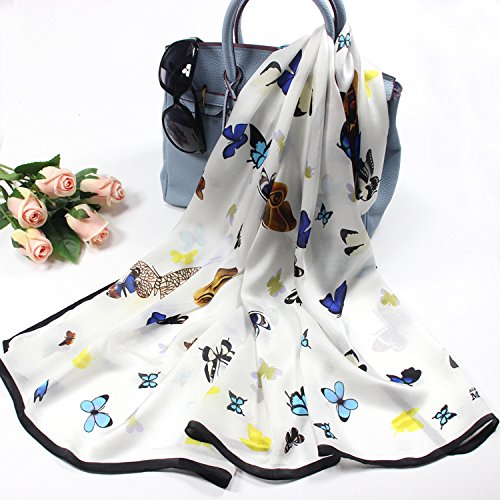 White SALY Woman Lady Style Butterfly Print Silk Scarf