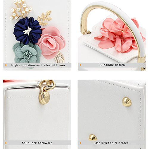 Milisente Women Clutches Flower Clutch Bag Box Clutch Purse Evening Handbag (White) by Milisente (Image #3)