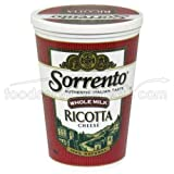 Sorrento Whole Milk Select Ricotta Cheese, 3 Pound -- 6 per case.