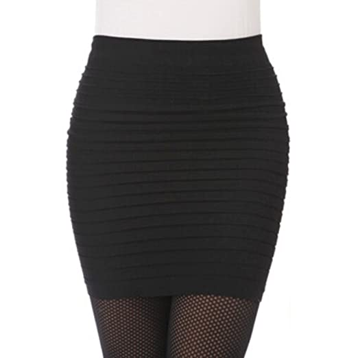 9117d61368f9b1 Women's Seamless Bandage Bodycon Mini Knit Basic Stretch Short Pencil Skirt  (Black)
