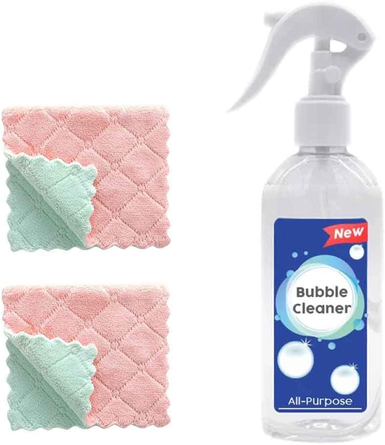 Matoen 3pcs Kitchen Degreaser Cleaner Foam Cleaner and Towel Multi Surface All Purpose Industrial Strength Degreaser Removes Kitchen Grease Grime Baked on Food Home Commercial Use 200ml
