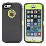 iPhone SE Case, Lookly [Armorbox Series] Heavy Duty Rugged Scratch Resistant Shockproof Full Body Protective with Built-in Screen Protector Case for Apple iPhone 5S/SE (Gray+Green)