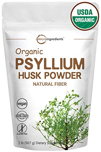 Organic Psyllium Husk Powder, 2 Pound (32 Ounce), Natural Fiber, Perfect for Baking, Smoothie and Beverage, No GMOs and Vegan Friendly
