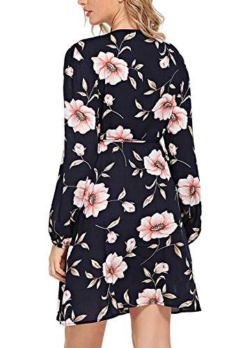 Wrap Vintage De Floral Maxi Vestido Impresión Split Multicolor Mujeres Milumia pink AY5TnxUqww