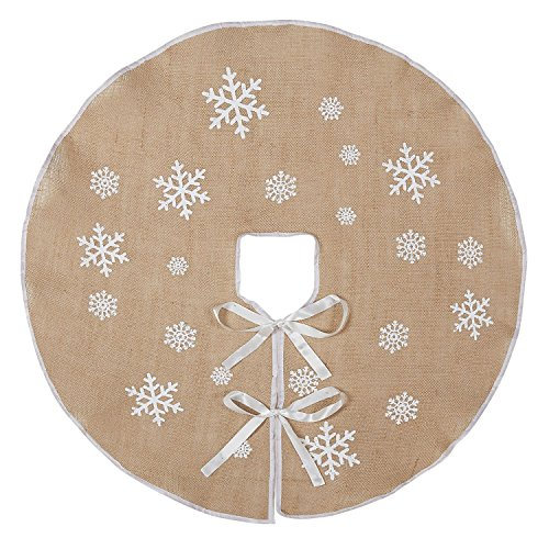 Macting Burlap Snowflake Christmas Tree Skirt Ornament 30Inch Diameter Christmas Country New Year Holiday Decoration