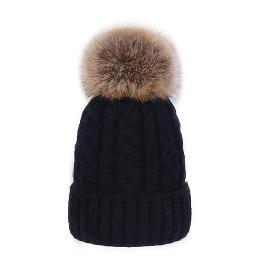 0731c9794c7 DELORESDKX Women Cashmere Blend Knit Fur Pom Beanie Hat Cap Faux Fur ...