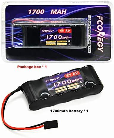 FCONEGY Reveiver Pack 1700mah 6V RC Batterie NiMH Flat Pack Battery avec Prize Futaba Plug