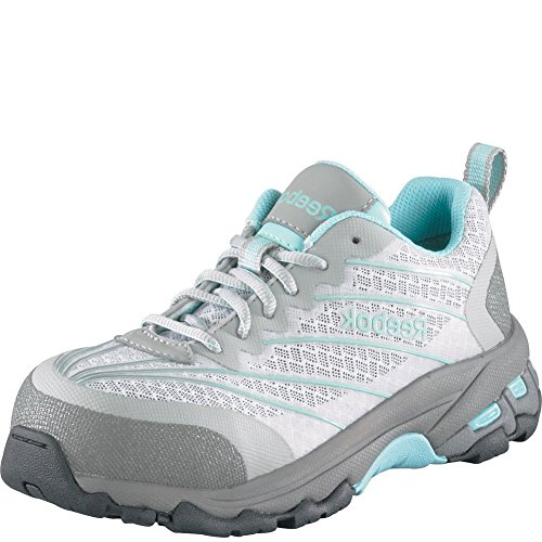 Reebok Work Women's Exline RB421 Fire and Safety Shoe, Light Grey/Teal Trim, 6.5 M US