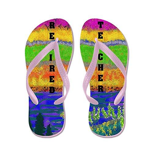 CafePress Watercolor Retired Teacher FF - Flip Flops, Funny Thong Sandals, Beach Sandals Pink