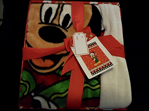 (DISNEY SANTA CLAUS MICKEY MOUSE CHRISTMAS PLUSH THROW BLANKET 62