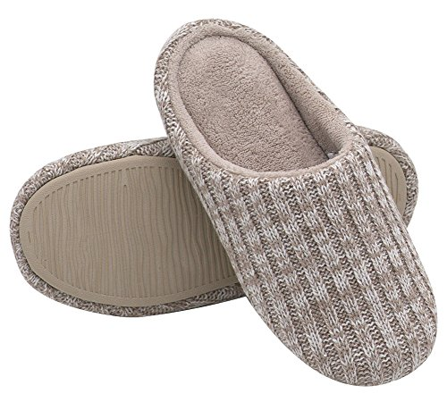 HomeIdeas+Women%27s+Cashmere+Cotton+Knitted+Anti-slip+House+Slippers%28Large+%2F+9-10+B%28M%29+US%2C+Beige%29
