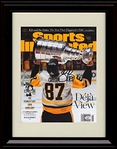 Framed 2016-17 Pittsburgh Penguins Stanley Cup Champions Sports Illustrated Autograph Replica Print - Sidney Crosby (Framed Sidney Pittsburgh Crosby Penguins)