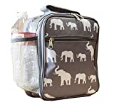 NCC17-E-GB-1 Trendy Grey White elephant Pattern Superior Quality Fashion Insulate Lunch Bag PEVA Lining