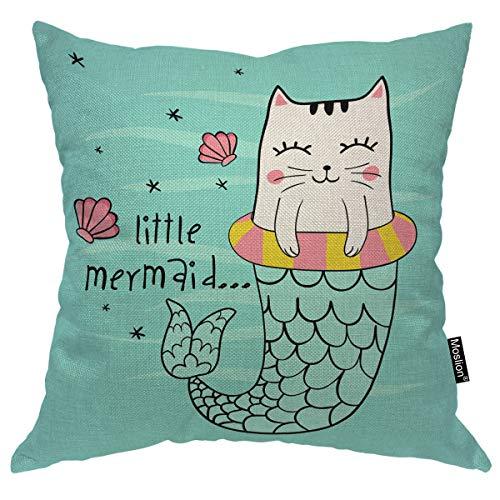 Moslion Mermaid Pillows Cute Ocean Sea Cat Mermaid with Fish Sequin Starfish Seashell Throw Pillow Cover Decorative Pillow Case Square Cushion Accent Cotton Linen Home 18x18 Inch Green