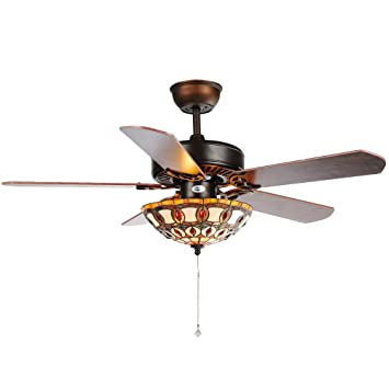 Luxurefan retro tiffany ceiling fan light fixture with pure craft luxurefan retro tiffany ceiling fan light fixture with pure craft made lampshade 5 wood blades aloadofball Images