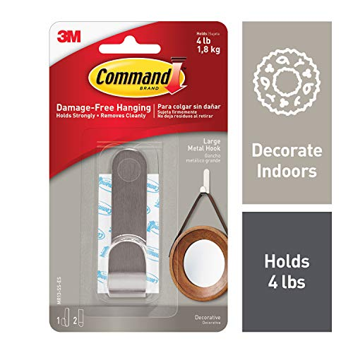 Command Metal Hook, Indoor Use, Decorate Damage-Free (MR13-SS-ES)