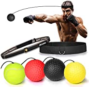 GeToo Boxing Reflex Ball Set- 4 Difficulty Reflex Ball with 2 Different Silicone Nylon Adjustable Headbands, G