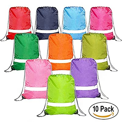 Drawstring Backpack Bags Reflective 10 Pack, Promotional Sport Gym Sack Cinch Bag (Royal Blue,Black,Red,Green)