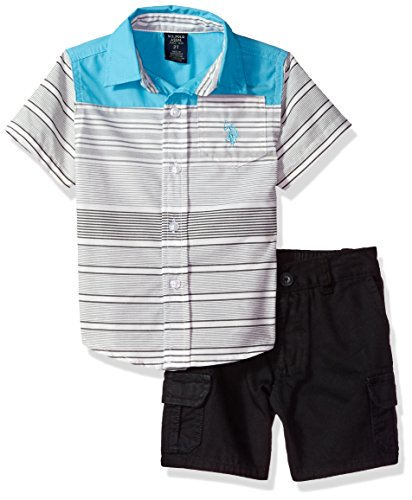 U.S. Polo Assn. Boys' Toddler Sleeve Woven Shirt and Short Set, Black Multi Plaid, 3T (Woven Sleeve Shirt)