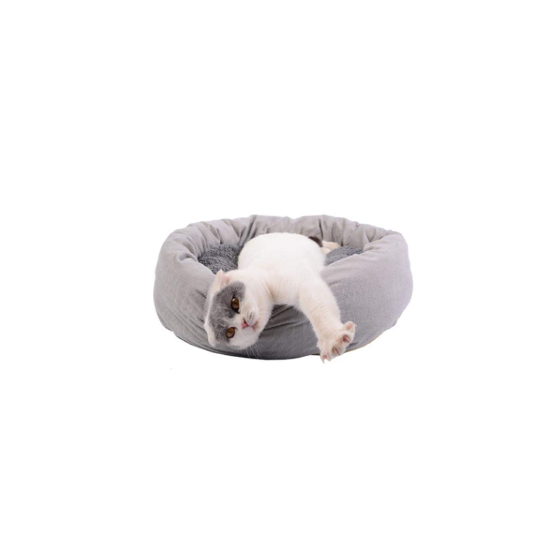 Pet mat cat nest Kennel Round Open Summer Non-Stick,Gray,m by qentom Pet-beds (Image #1)
