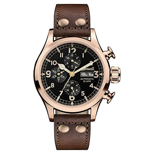 Ingersoll Men's Automatic Stainless Steel and Leather Casual Watch, Color:Brown (Model: I02201)