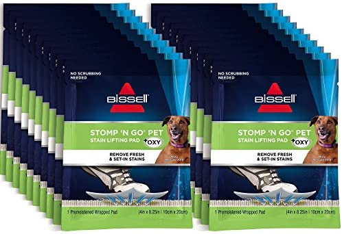 Bissell Stomp 'N Go Pet Lifting Pads + Oxy for Stain Removal on Carpet & Area Rug Cleaning, 20 Pack, 2194, 20 Count