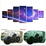 Startonight Large Canvas Wall Art Abstract Bundle Galaxy Blue Planet On A Pink Background, Big Framed Painting, Free Gift 3D Poster Harley for Real Men