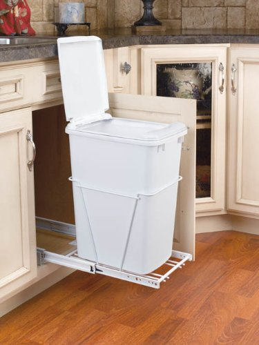 Single Bottom Mount w/ Lid Reduced Depth White Wire Waste Containers - RV-12PB-LE - 35 QT - White / White