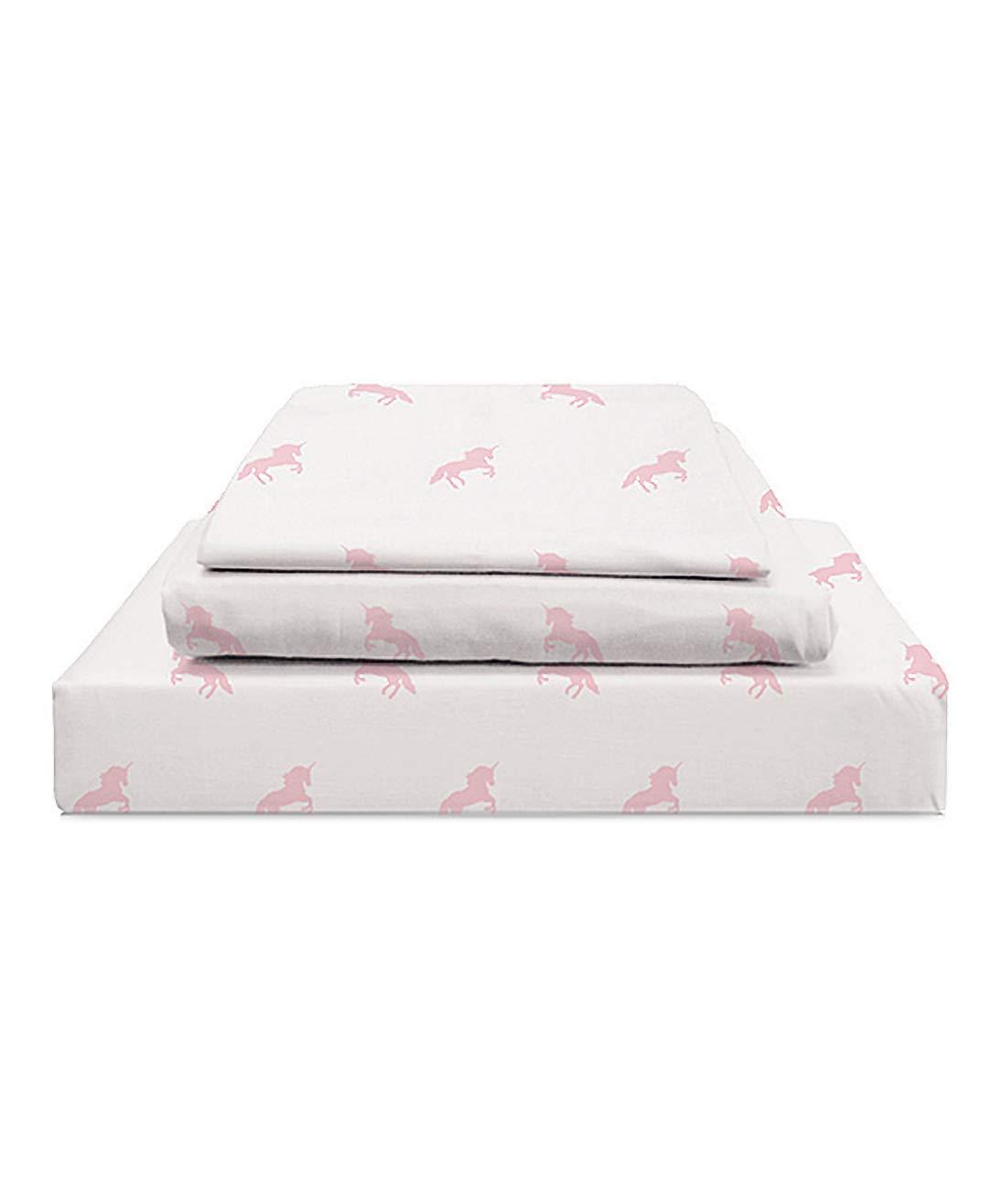 Habitat Kids Collection Unicorn Sheet Set in Pastel on White - 100% Organic Cotton Unicorn Sheets for Kids (Pink, Twin)